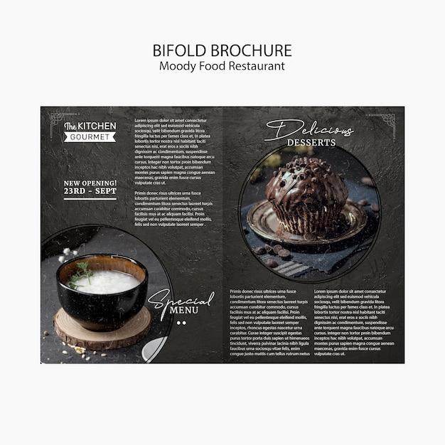 Moody food ресторан двойной брошюра концепция макет Бесплатные Psd