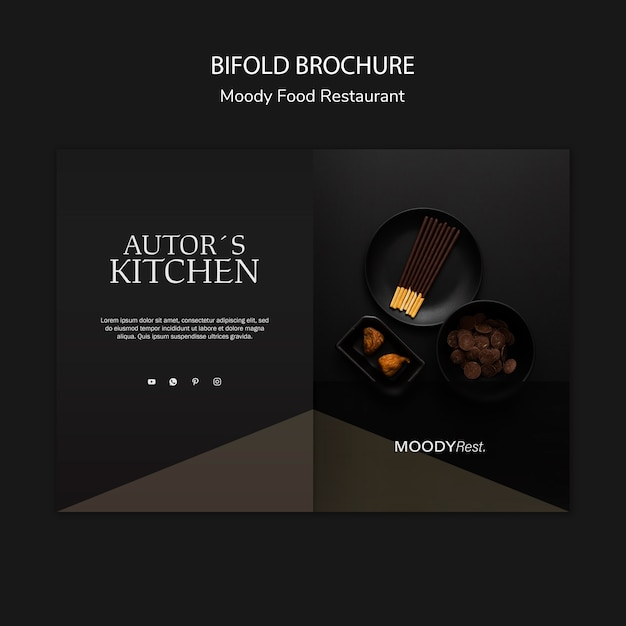 Moody food restaurant brochure template PSD file | Free ...