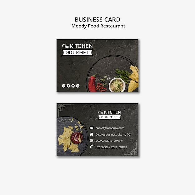 Moody food restaurant business card concept mock-up Free Psd