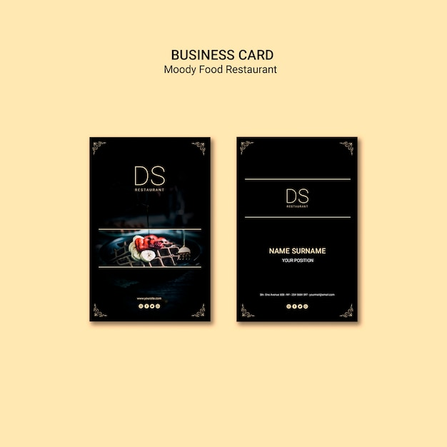 Moody food restaurant business card template Free Psd