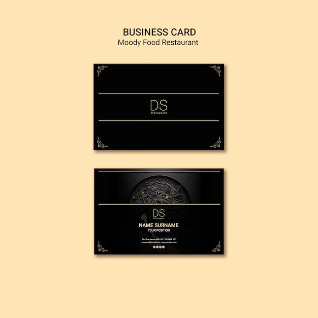 Moody food restaurant business card Free Psd