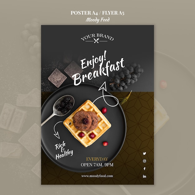 Moody food restaurant flyer concept mock-up Free Psd