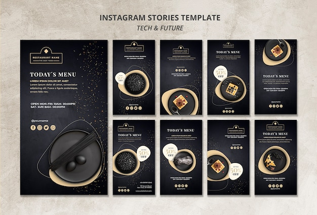 Moody food restaurant instagram stories template concept mock-up Free Psd