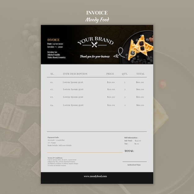 Moody food restaurant invoice concept mock-up Free Psd
