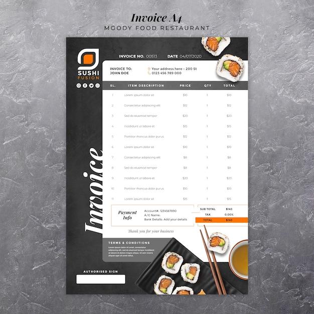 Moody food restaurant invoice Free Psd