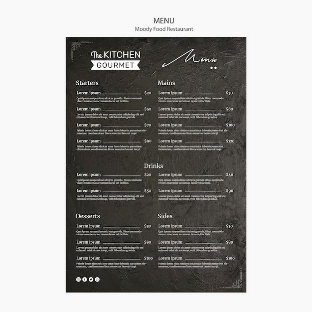 Макет концепции меню ресторана moody Бесплатные Psd