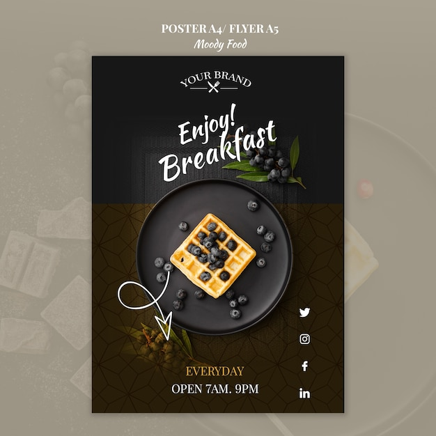 Moody food restaurant poster concept mock-up Free Psd