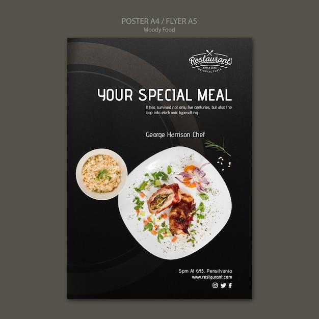 무디 음식 레스토랑 포스터 컨셉 모형 무료 PSD 파일