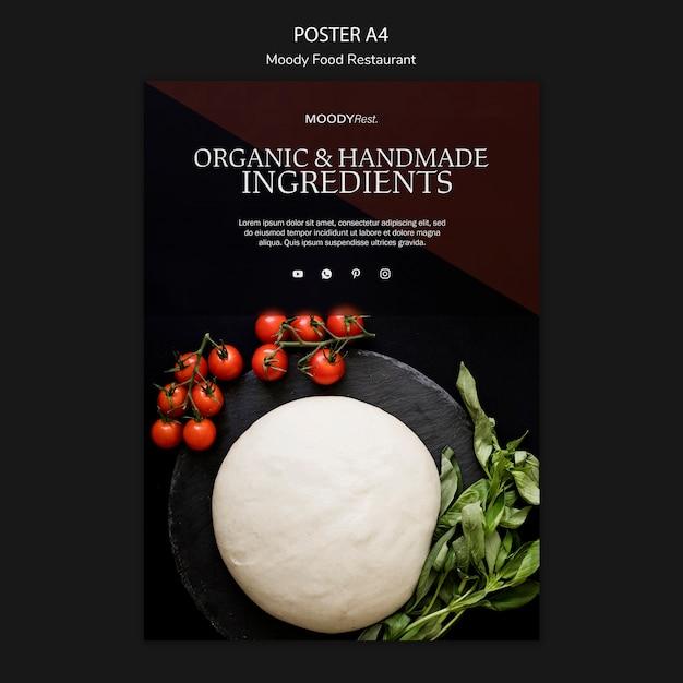 モッツァレラチーズと不機嫌そうな食べ物レストランポスターテンプレート 無料 Psd