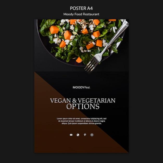 サラダと不機嫌そうな食べ物レストランポスターテンプレート 無料 Psd