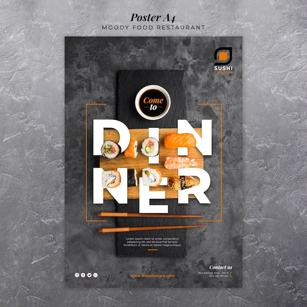 Moody food restaurant poster Free Psd