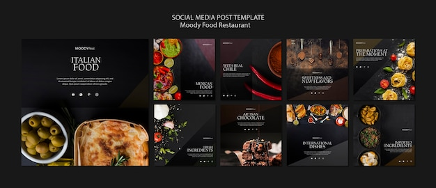Moody food restaurant social media post template Free Psd