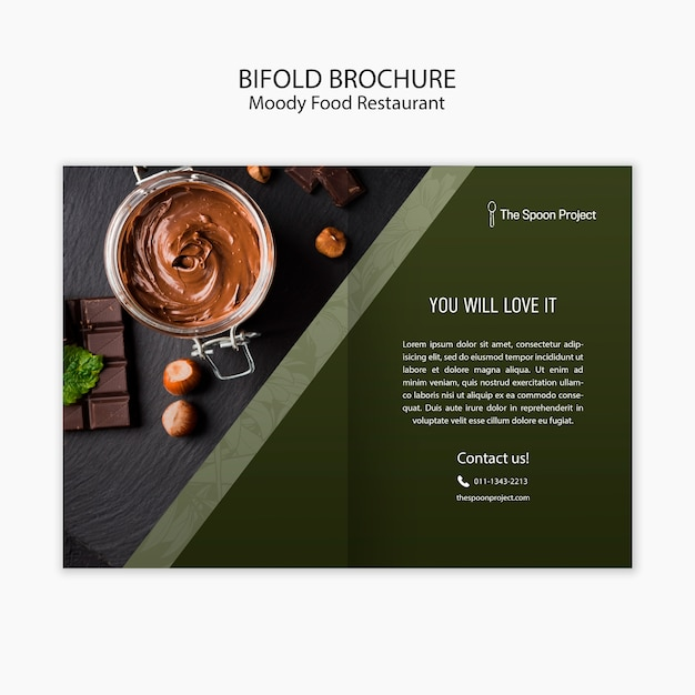 Moody food restaurant template concept for brochure Free Psd