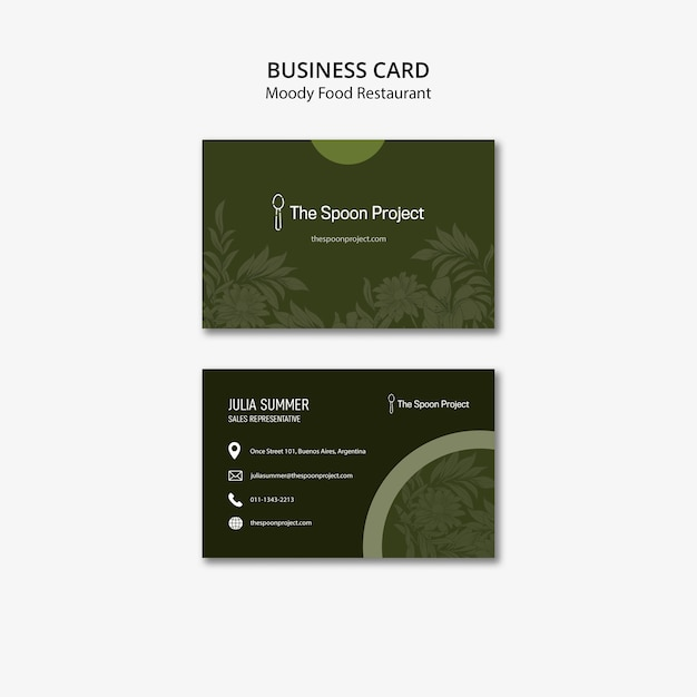 Moody food restaurant template concept for business card Free Psd