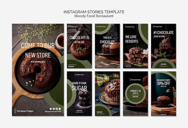 Moody food restaurant template concept for instagram stories Free Psd