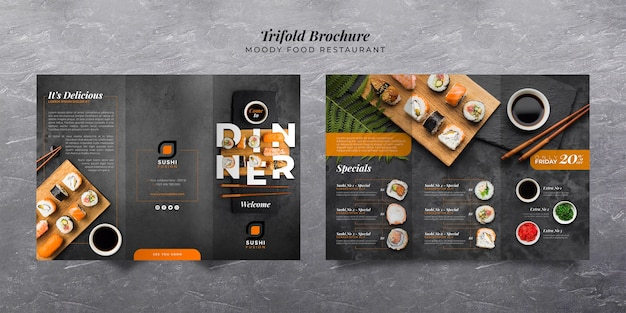 Moody food restaurant trifold brochure Free Psd