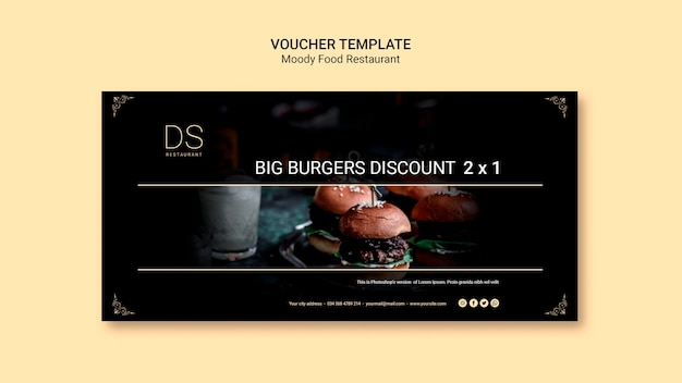 Moody food restaurant voucher template with photo Free Psd