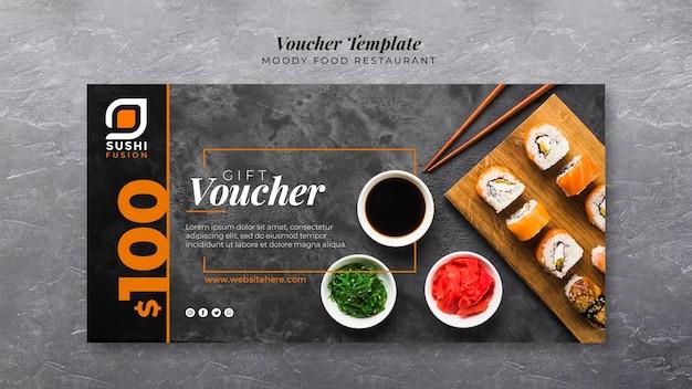 Moody food restaurant voucher template Free Psd