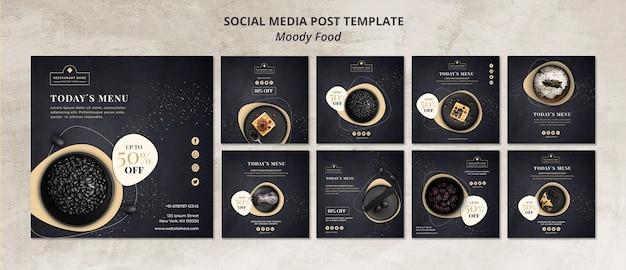 Moody food restaurant социальные медиа пост шаблон концепция Бесплатные Psd