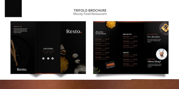 Moody food trifold brochure template Free Psd