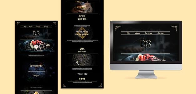 Moody food ресторан веб-шаблоны Бесплатные Psd