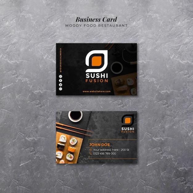 Шаблон визитной карточки moody food Бесплатные Psd