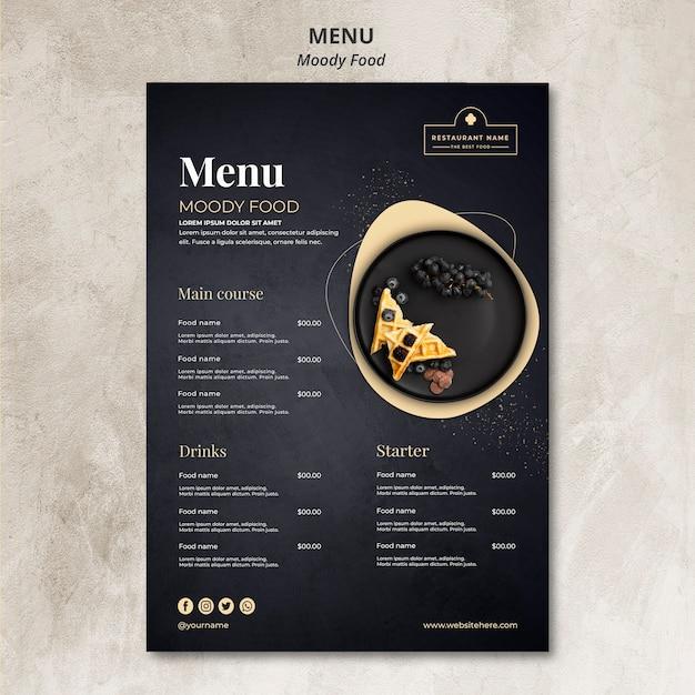 Концепция меню ресторана moody food Бесплатные Psd