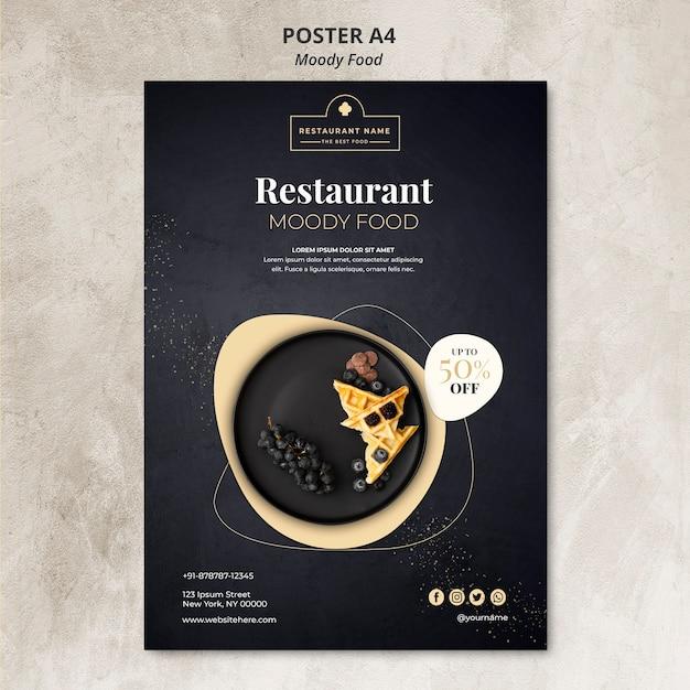 Концепция плаката ресторана moody food Бесплатные Psd
