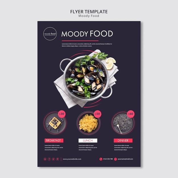 Творческий флаер шаблон moody food Бесплатные Psd