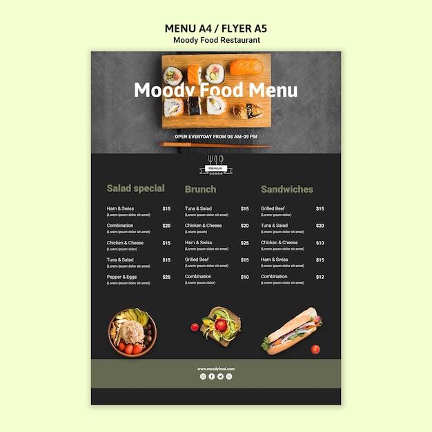 Шаблон меню ресторана moody food Бесплатные Psd
