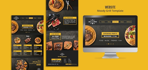 Moody grill website template Free Psd