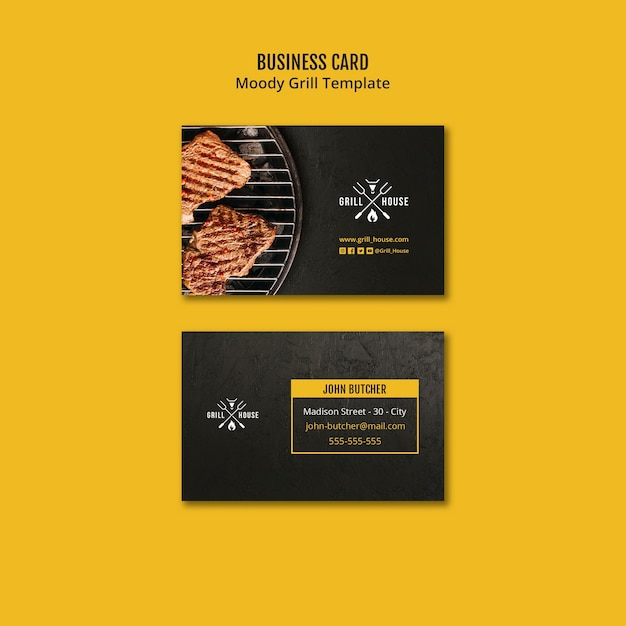 Шаблон визитной карточки moody grill Бесплатные Psd