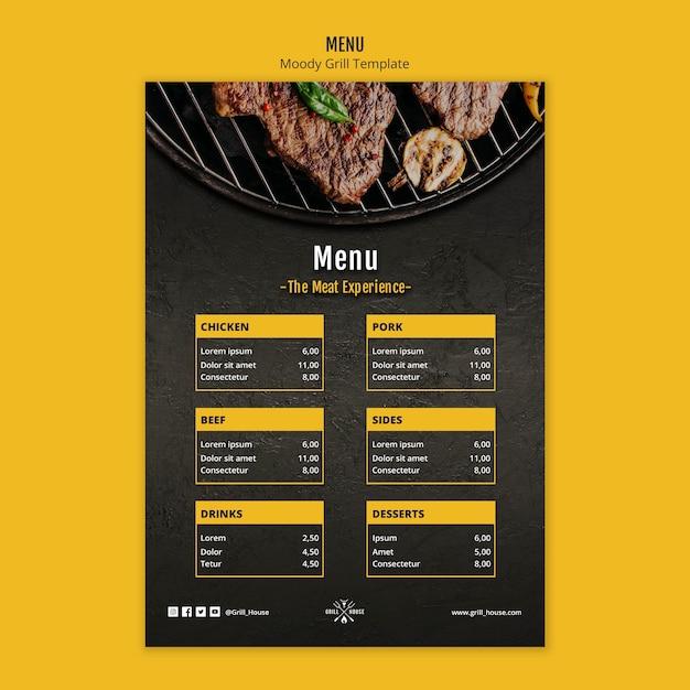 Шаблон меню moody grill Бесплатные Psd