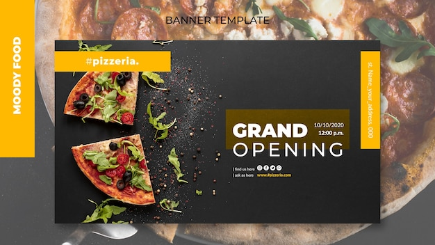 Moody restaurant food banner template mock-up Free Psd
