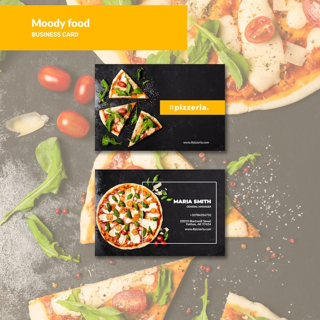Moody restaurant food business card mock-up Free Psd