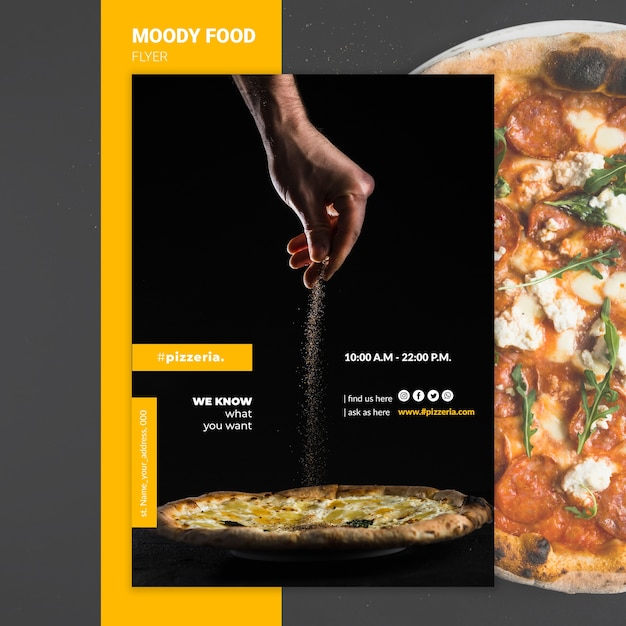 Moody restaurant food flyer mock-up Free Psd