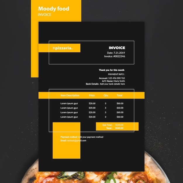 Moody restaurant food invoice mock-up Free Psd