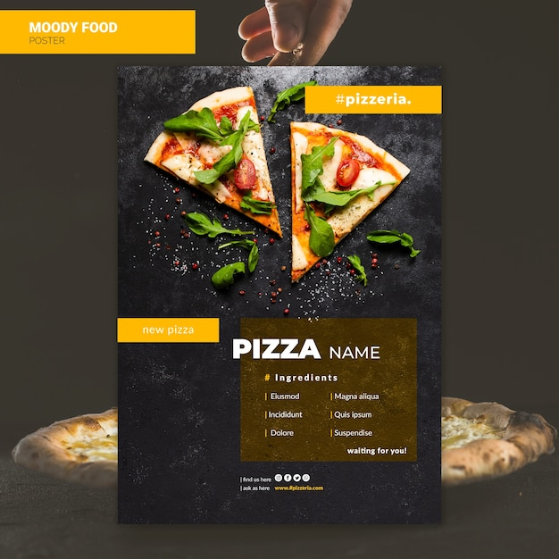Moody restaurant food poster mock-up Free Psd