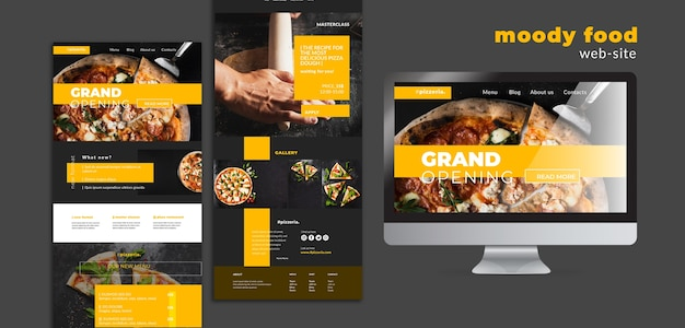 Moody restaurant food web-site mock-up Free Psd