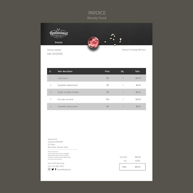 Макет концепции счета-фактуры ресторана moody Бесплатные Psd