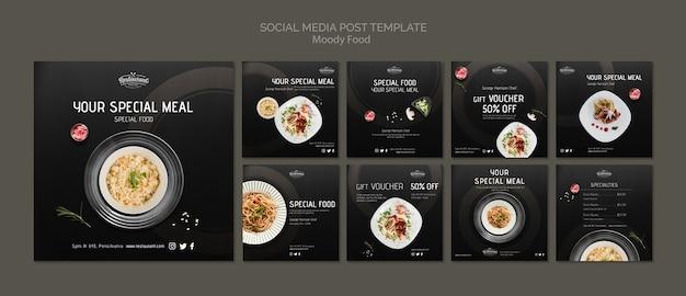 Социальные медиа ресторана moody публикуют шаблон концепции Бесплатные Psd