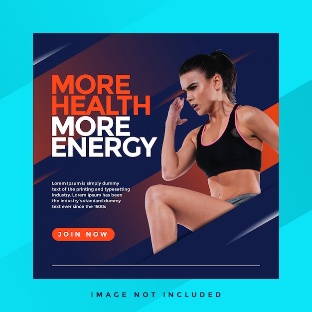 More health more energy sports instagram template Premium Psd