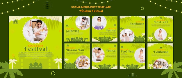 Post sui social media del festival arabo musulmano Psd Gratuite