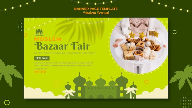 Мусульманский базар ярмарка баннер веб-шаблон Бесплатные Psd