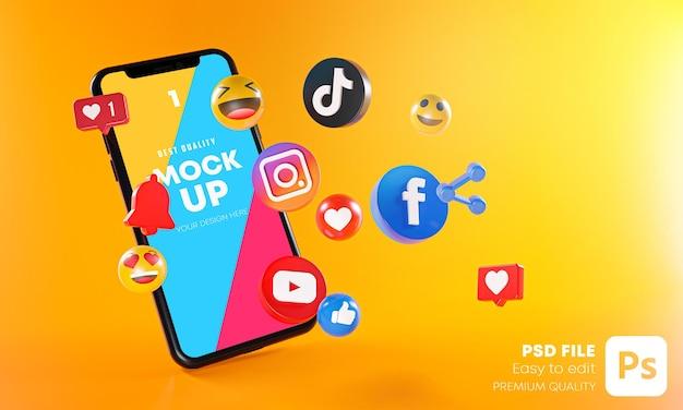 휴대폰 모형이있는 가장 인기있는 소셜 미디어 앱 프리미엄 PSD 파일