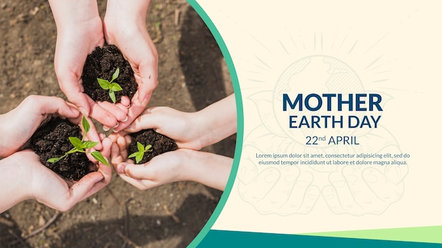 Mother earth day cover template Free Psd