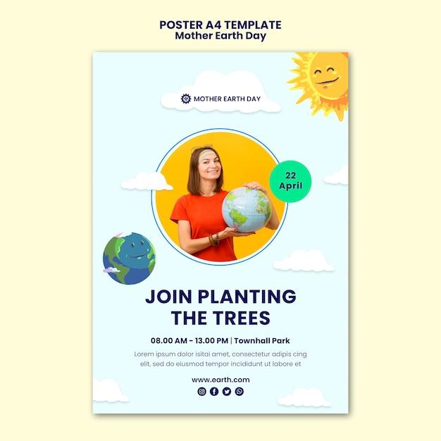 어머니 지구의 날 포스터 템플릿 무료 PSD 파일