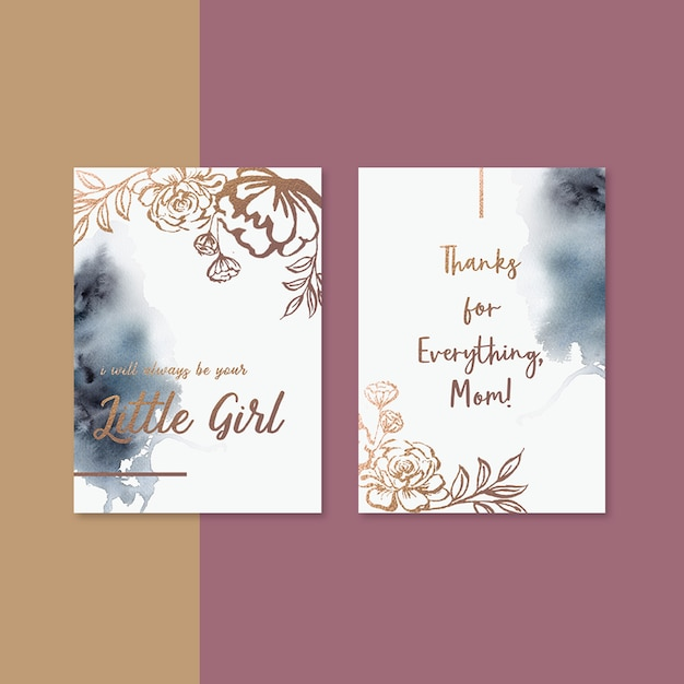 Mother's day card with sepia flowers Free Psd