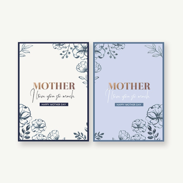 Mother's day simple and practical card with decorative flowers Free Psd