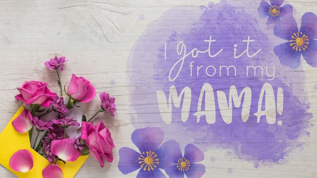 Mothers day mockup with copyspace Free Psd